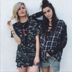 LF Furst of a Kind Plaid Lace Up Lace Sleeve Tunic